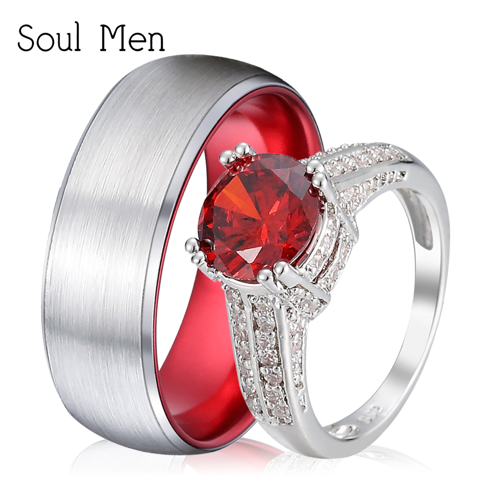 Soul Men Romantic Wedding Rings Set For Lover 8mm Silver Color Mens Tungsten Couple Rings Luxury Big Red CZ Stone Ring for Women men wedding band cz rings jewelry silver color anillos bague aneis ringen promise couple engagement rings for women