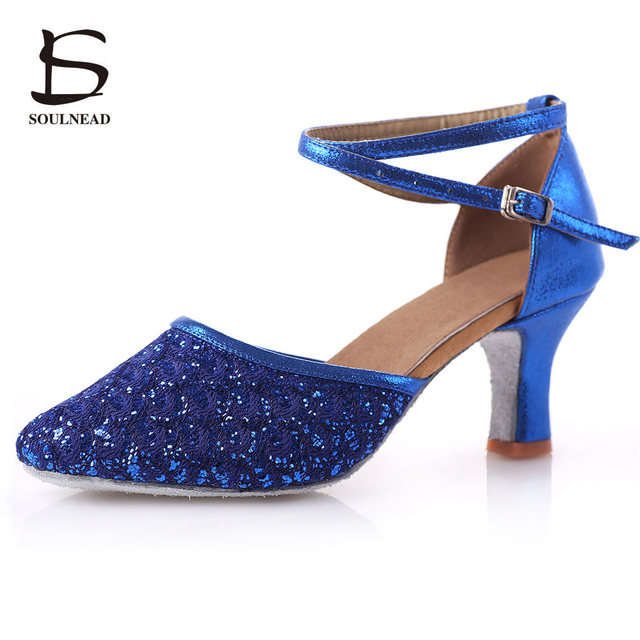 Adult Ladies Women Latin Salsa Tango Dance Shoes Closed Toe Glitter  Blue Black Ballroom Dance Shoes High Heels 5 7cm Party Shoes 324c9d277789