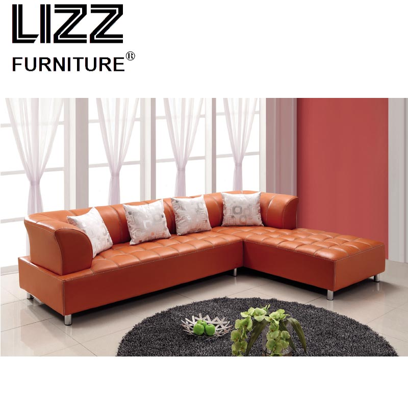 Leather Furniture Stores In Miami Fl: Modern Living Room L Shape Sectional Orange Leather Sofa