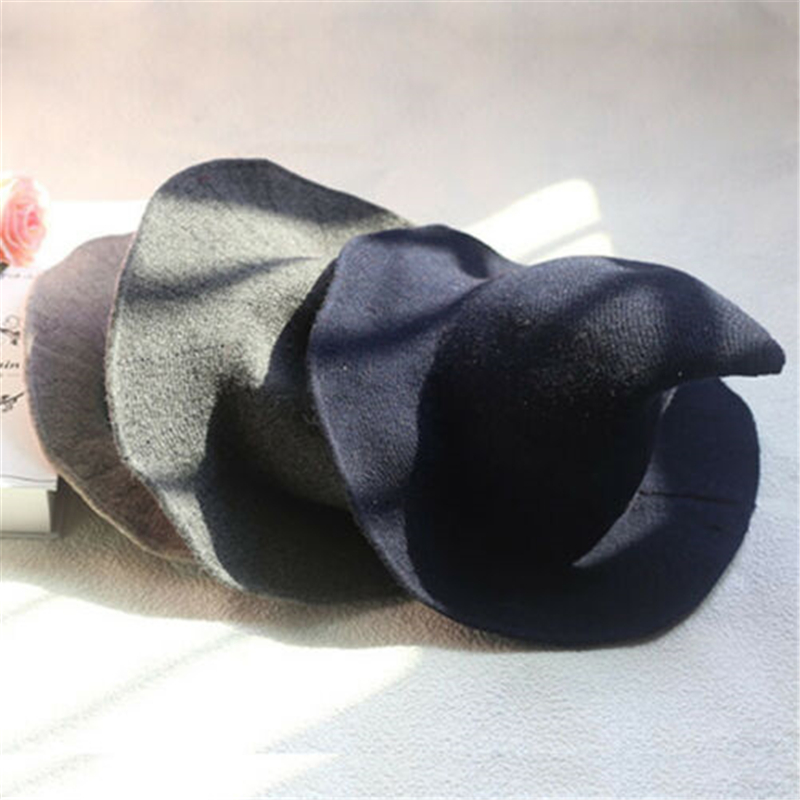 Горячие Для женщин современные шляпа ведьмы складной костюм остроконечный шерстяного фетра Хэллоуин вечерние Шапки шляпа ведьмы теплая Осенняя зимняя шапка