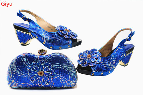 beautiful royalblue Shoe and Bag Sets Italian Shoes and Bags Set for party African Matching Shoes and Bags! SSN1-13
