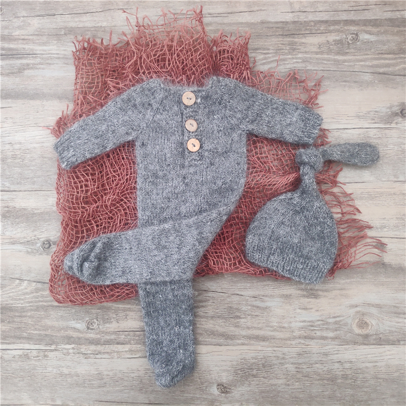 Newborn photography props,handmade mink yarn outfits bodysuit with bonnet baby photography props