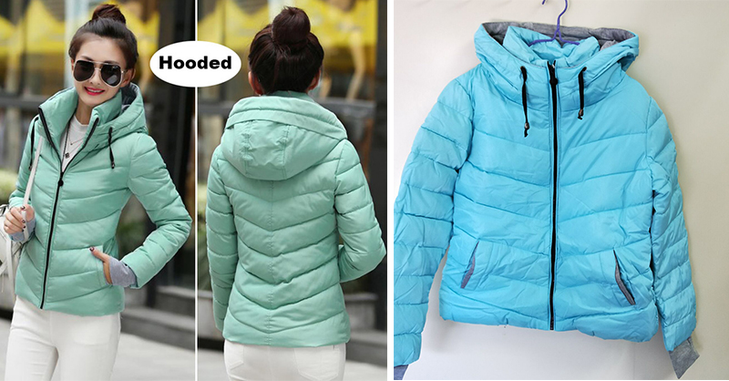 Winter Jacket Women Parkas Thicken Outerwear solid hooded Coats Short 16