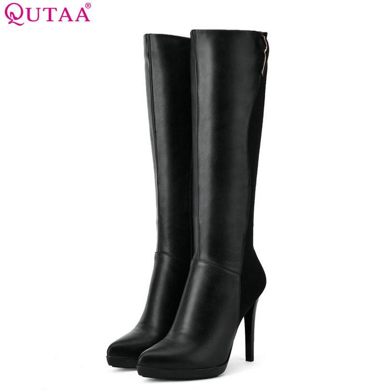 QUTAA 2018 Women Knee High Heel Boots Black Elegent Thin High Heel Pointed Toe Pu and Scrub Leather Ladies Boots Szie 34-39