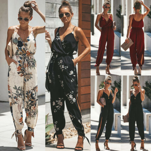 Casual Women Printed Sleeveless Loose Lace Up  Jumpsuit Romper Bodysuit Pencil Pants Long Trousers
