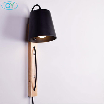 Modern Wire Plug Wood+Iron Wall Sconces E27 LED Wall Lights For Home Bedroom Bedside Black White Wall Lamp Indoor store Lighting