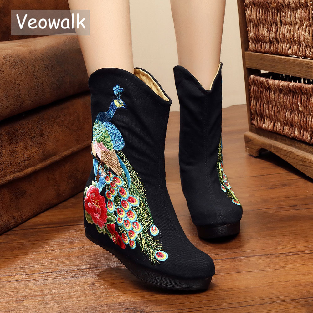 Veowalk Handmade Vintage Old Beijing Cotton Embroidered Casual Mid Boots Women Wedges Platform Canvas Pump Heels Shoes Mujer стоимость