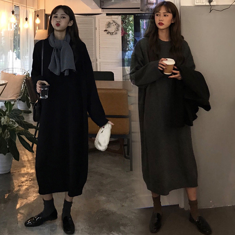 Han version autumn and winter new product fat mm200 jin add fat plus size women's dress knitted dress loose long wool dress