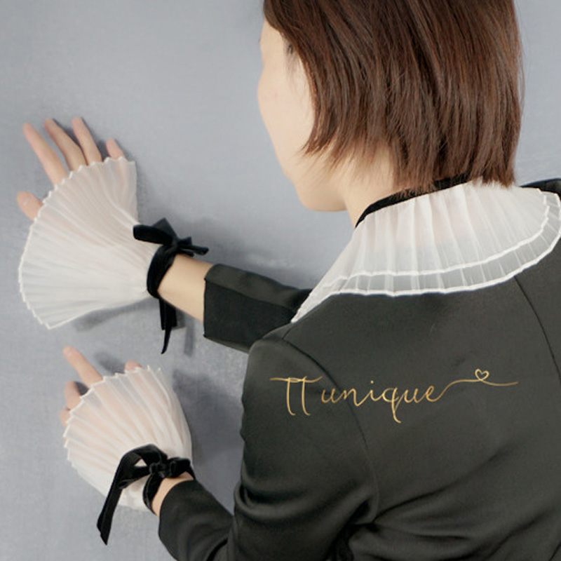 Korean Trumpet Sleeve Play Decorative Arm Sleeves Decorated Cuffs Pearl Clear Department Perspective Pure White Collar Decorated