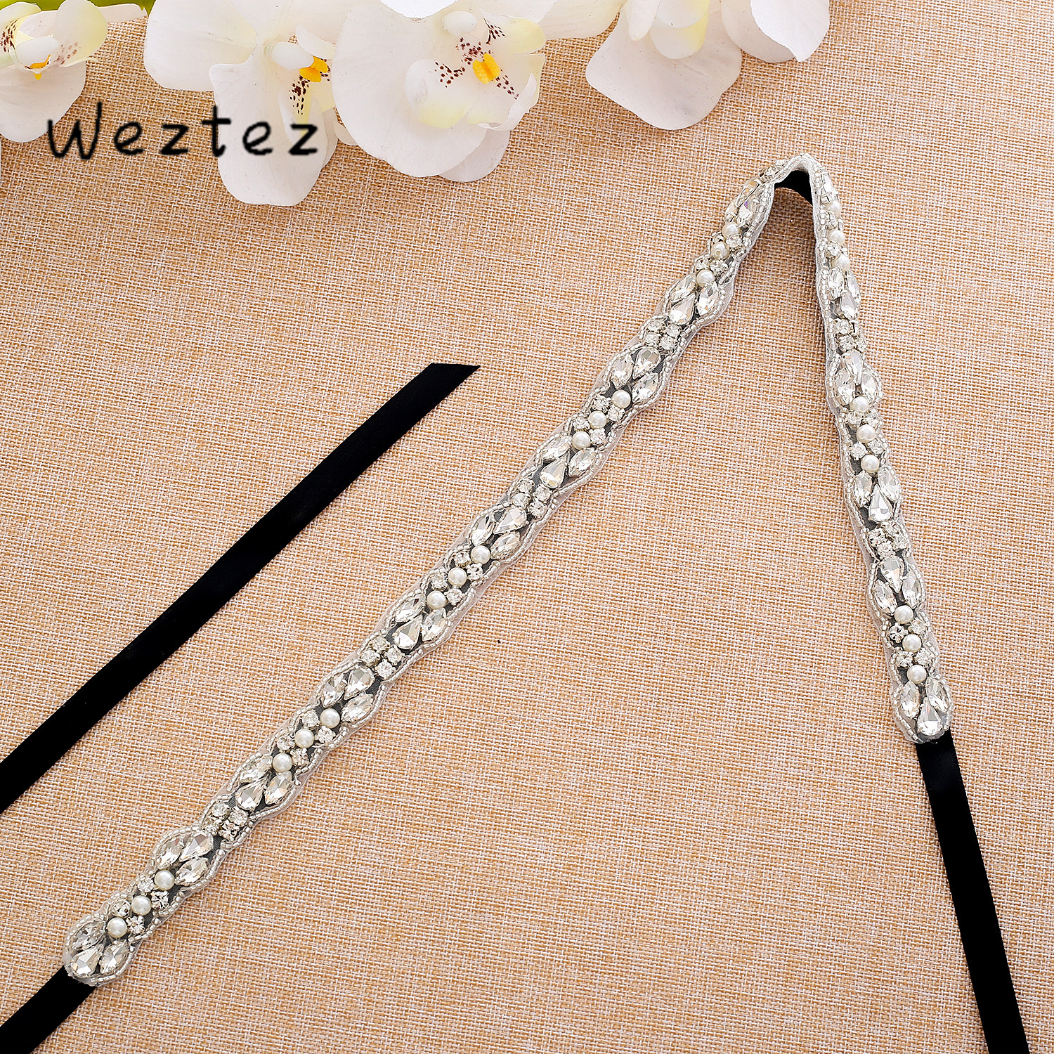 Silver Crystal Bridal Belt Rhinestone Wedding Sash Diamond Bridal Dress Belt  For Wedding Decoration SD132S
