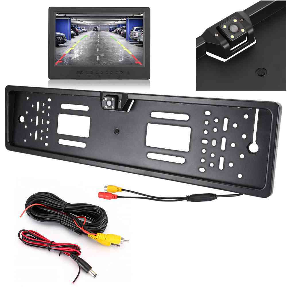 Car Rear Camera Auto Parktronic EU Car License Plate Frame HD Night Vision Rear View Camera Reverse Rear Camera With 4 Led Light