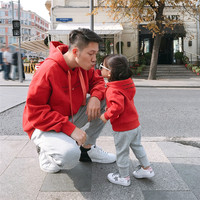Autumn Winter Family Matching Outfits Dad Mom Daughter Son Hooded Hoodies Long Lace Pullover Sweater Clothing Plush Warm Clothes