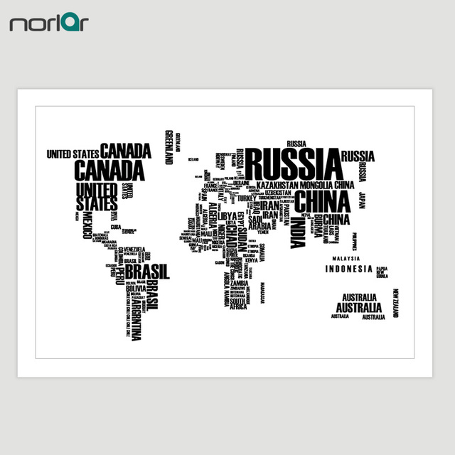 Canvas painting printed black white letter world map decorative canvas painting printed black white letter world map decorative canvas poster wall art picture home decor gumiabroncs Image collections