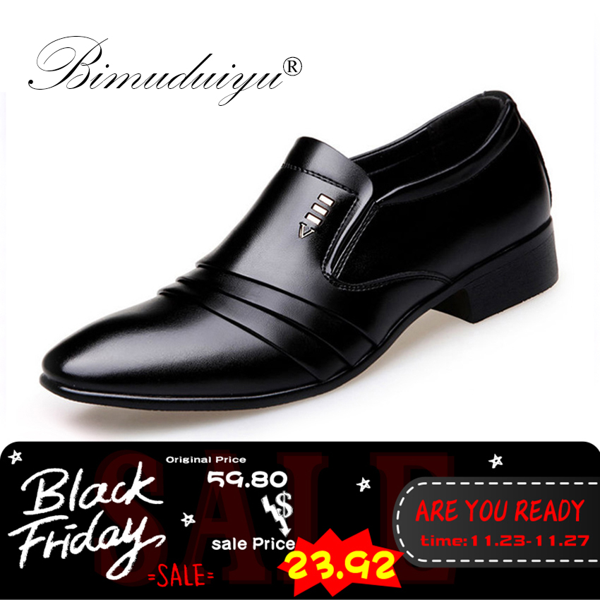 BIMUDUIYU Luxury brand PU Leather Fashion Men Business <font><b>Dress</b></font> Loafers Pointy Black <font><b>Shoes</b></font> Oxford Breathable Formal Wedding <font><b>Shoes</b></font>