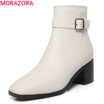 MORAZORA 2019 new arrival women ankle boots genuine leather shoes buckle zip autumn winter boots square heels dress shoes woman