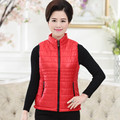 Quilted Waistcoat Fall Winter New Arrival Middle Age Mother Solid Zipper Vest Plus Size Women Slim Stand Collar Coat Vest 4XL