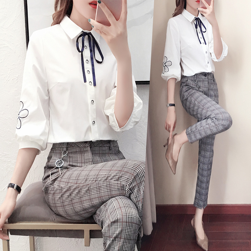 Women Clothes Spring New Shirt Top Pants Fashion Women Suit Female Casual Fashion Temperament Two-piece Set Female