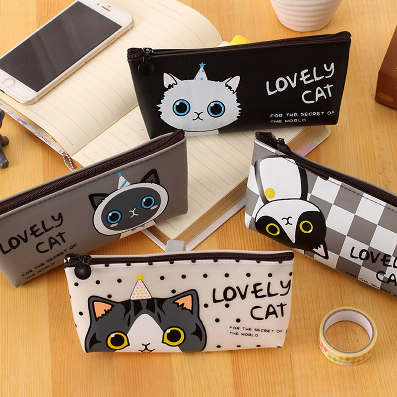 Cute Kawaii Jelly Glue Pencil Case Lovely Cartoon Cat Pencil Bag For Kids Gift School Supplies