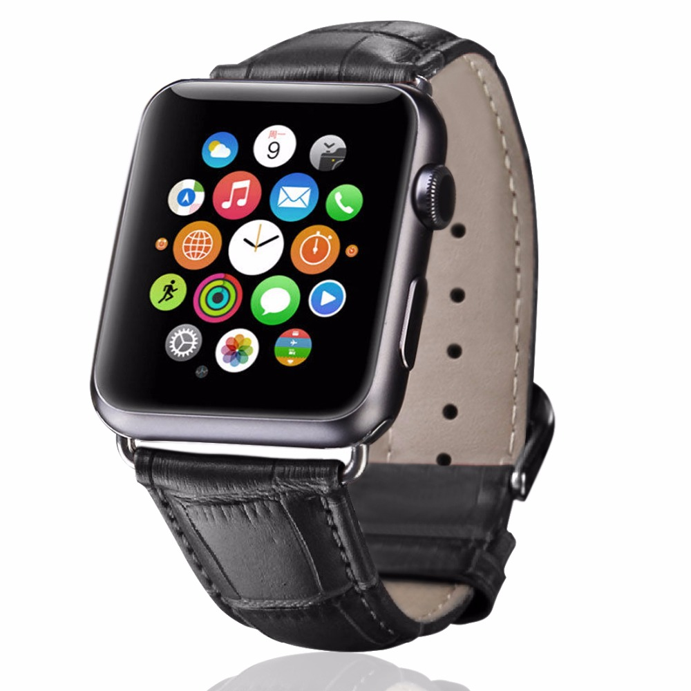 100% Genuine Leather watch band with Connector Adapter strap For 42MM/38MM Apple Watch Band for iWatch Sports Buckle Bracelet