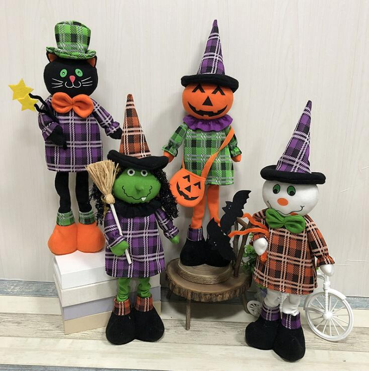 Trend Mark Halloween Ornaments Retractable Standing Toy Tall 40cm-50cm Black Cat Pumpkin Witch Ghost Dolls Halloween Party Yh1345 Toys & Hobbies Plush Wall Stuff