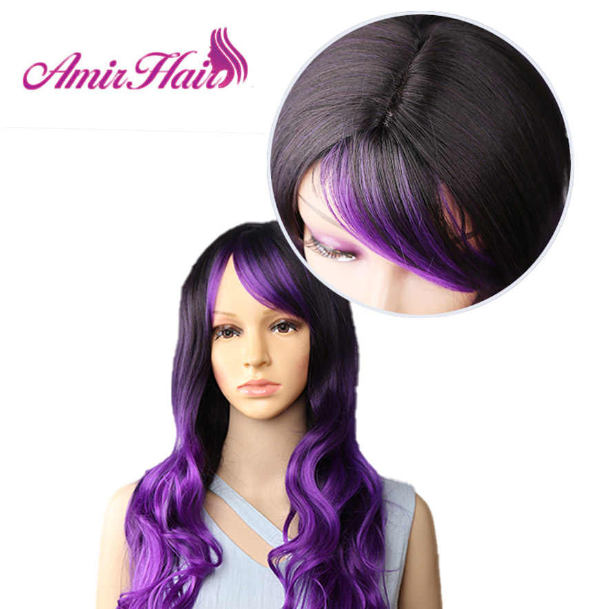 Amir длинные натуральные волны Омбре синтетический парик с челкой темный корень фиолетовый косплей парики для черно-белых женщин Жаростойкие волосы