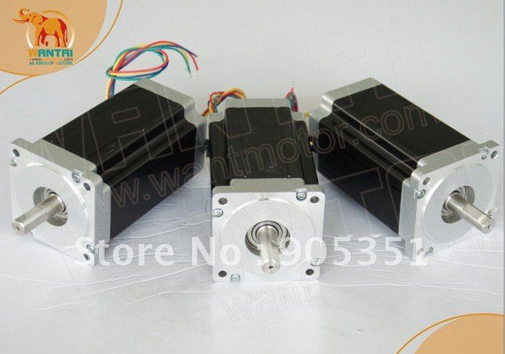 High 3 PCS Nema 34 Stepper Motor with 892OZ-In , 8 Leads CNC Kit wantaimotor , Dual shaft motor dual shaft  8 lead nema 34 stepper motor
