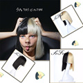 Highlights Sia Alive This Is Acting Half Black and Blonde wig cosplay peruk Halloween sia wig