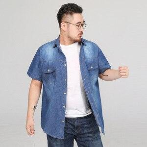 Image 2 - Chemises dété en Denim à manches courtes pour hommes, Streetwear Social Hombre Manga Corta 5XL, 6XL, 7XL, 8XL, grande taille Jeans décontractés