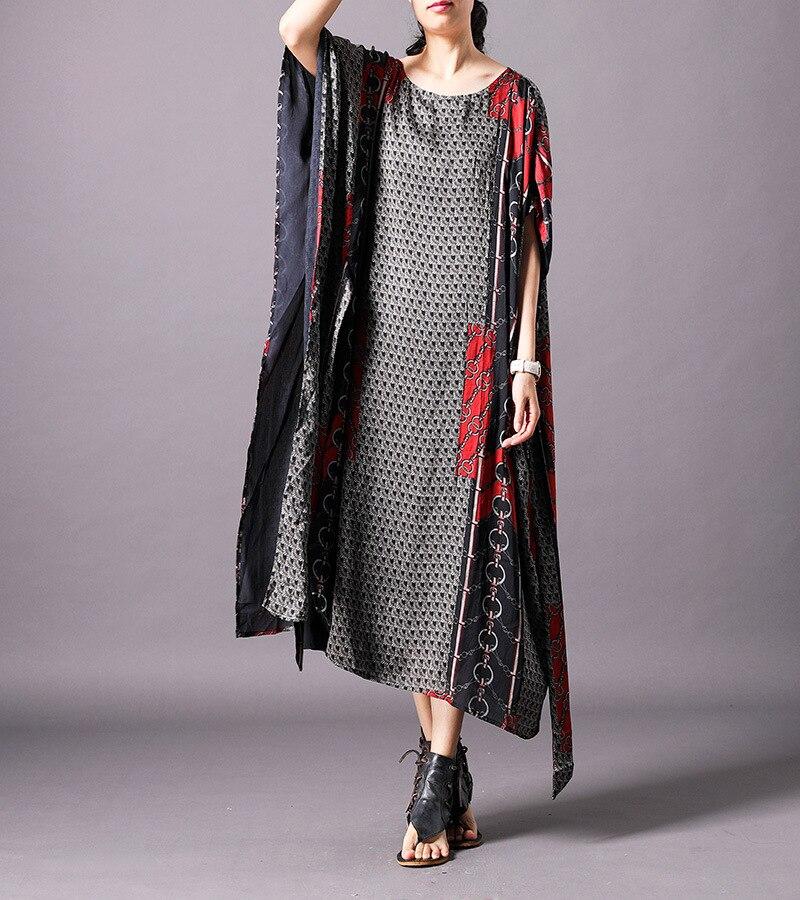 Marque célèbre Abaya dubaï arabe islamique vêtements-femmes Long caftan Maxi Robe d'été Boho ethnique Robe en soie - 3