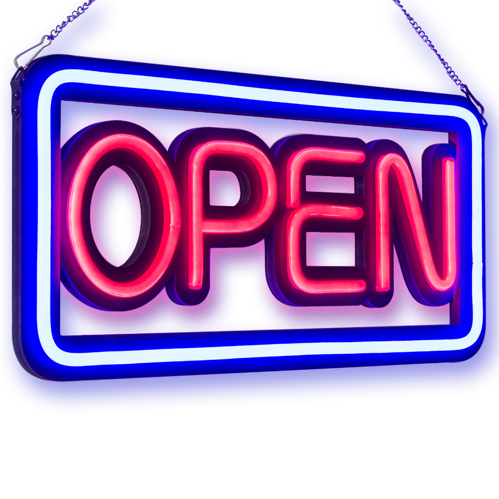 OPEN LED Neon Light Sign, 50CM, NEON TUBE STYLE OPEN SIGNS, RB Letter Window Displaying Light, Bar, Restaurant, Store, Salon