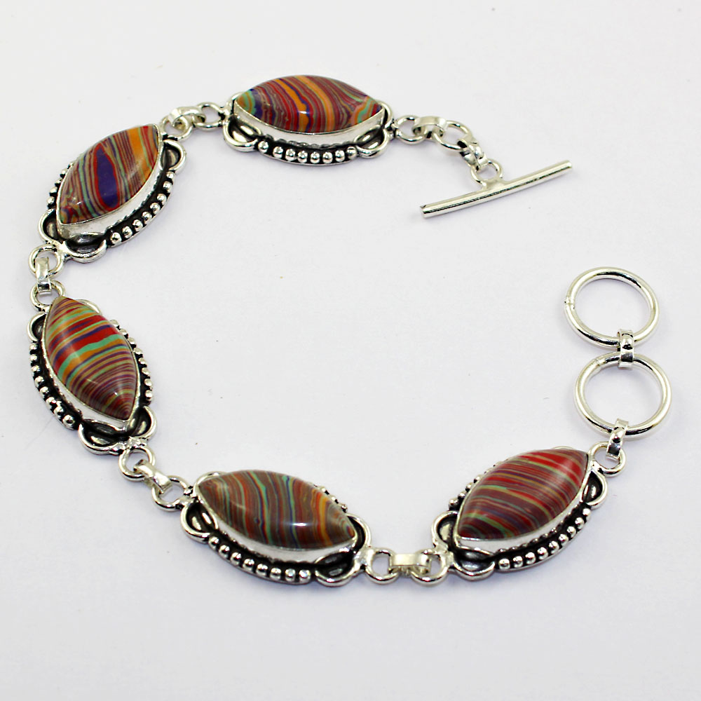 Rainbow Calsilica Bracelet Silver Overlay over Copper 20cm B1284 in Charm Bracelets from Jewelry Accessories