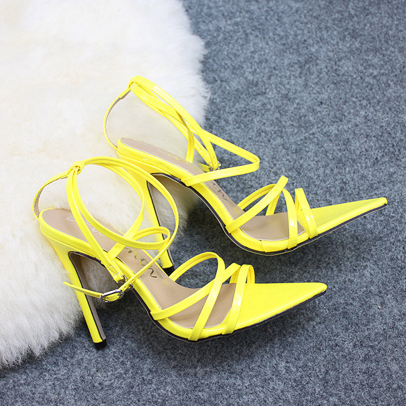 5533709c42 US $17.99 30% OFF|DEleventh New Designer Brand Fashion Pointed Toe Nichole  High Heels Sandals Gorgeous Party Wedding Shoes SIMMI INS lILLY Yellow-in  ...