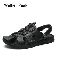 Top Soft 100% Genuine Leather Sandals for Mens, Handmade Men's Summer Casual Shoes, Non Slip Classics Men Beach Slippers