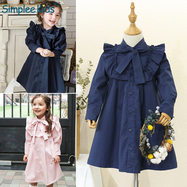2019 British School Style Girls Dresses Long Sleeve Kids Princess Dress Navy Elegant Ruffles Dresses for Girl Children Clothes
