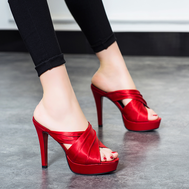 2018 Summer slippers for women black heels sexy platform stiletto womens high heel slingback shoes gladiator sandals women slip2018 Summer slippers for women black heels sexy platform stiletto womens high heel slingback shoes gladiator sandals women slip