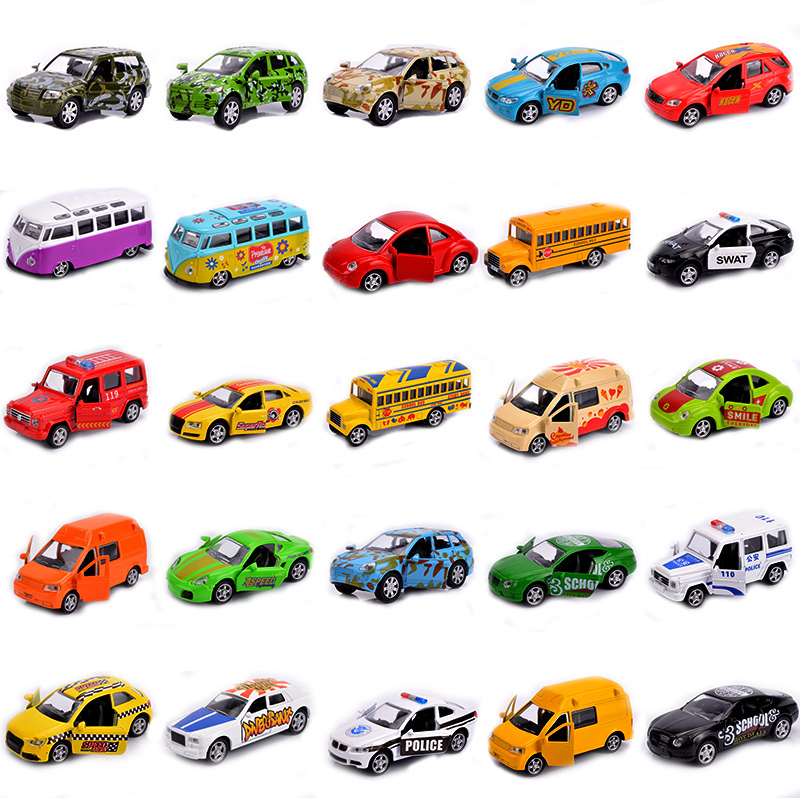 Mini Vehicle Die cast Model Car 1 64 Scale Children Toys open door and pull back