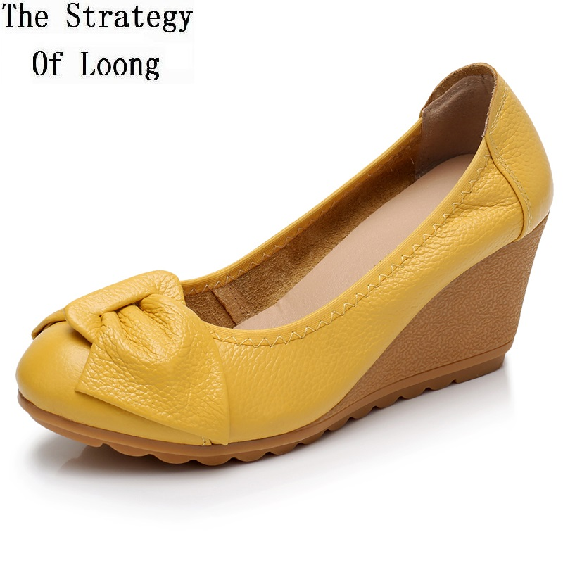 Lady Shoes Heels Women Pumps Bowknot High-Wedges Butterfly Retro Slip-On Genuine-Leather