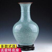 Jingdezhen antique ceramics kiln celadon vase open crack classic modern home decoration room decoration