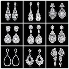 Mecresh Crystal Wedding Drop Earrings for Women Silver Black Gold Color Korean B