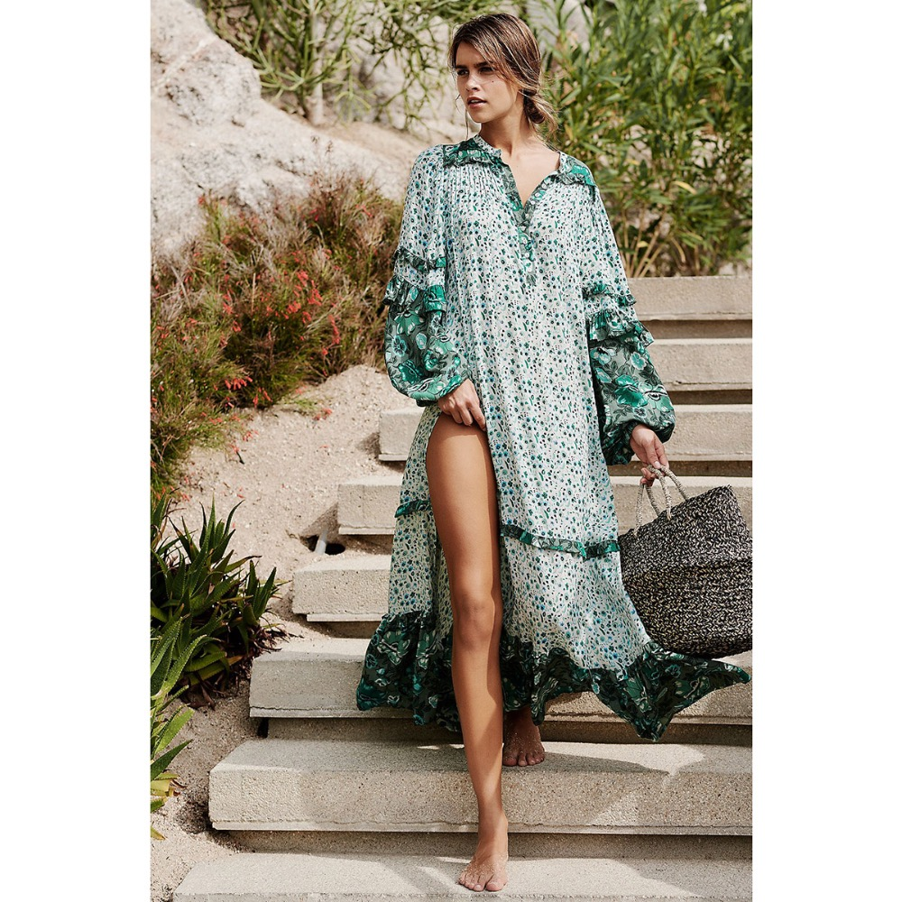 2018 femmes mode impression robe vert motif floral boho robe à manches longues volants maxi robe col en v fendu longue robe chic