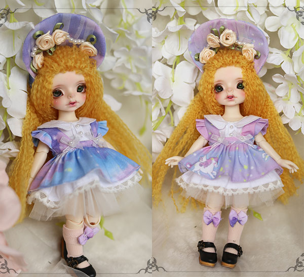BJD doll clothes Unicorn colorful cloud skirt suit for 1/8 BJD SD doll clothes accessories