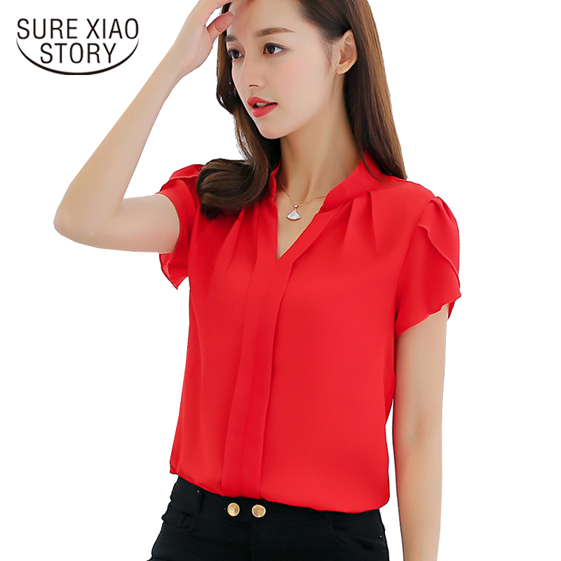 2018 new fashion womens clothing short sleeve v-neck women blouse shirt casual plus size OL blouse women tops blusas D211 30