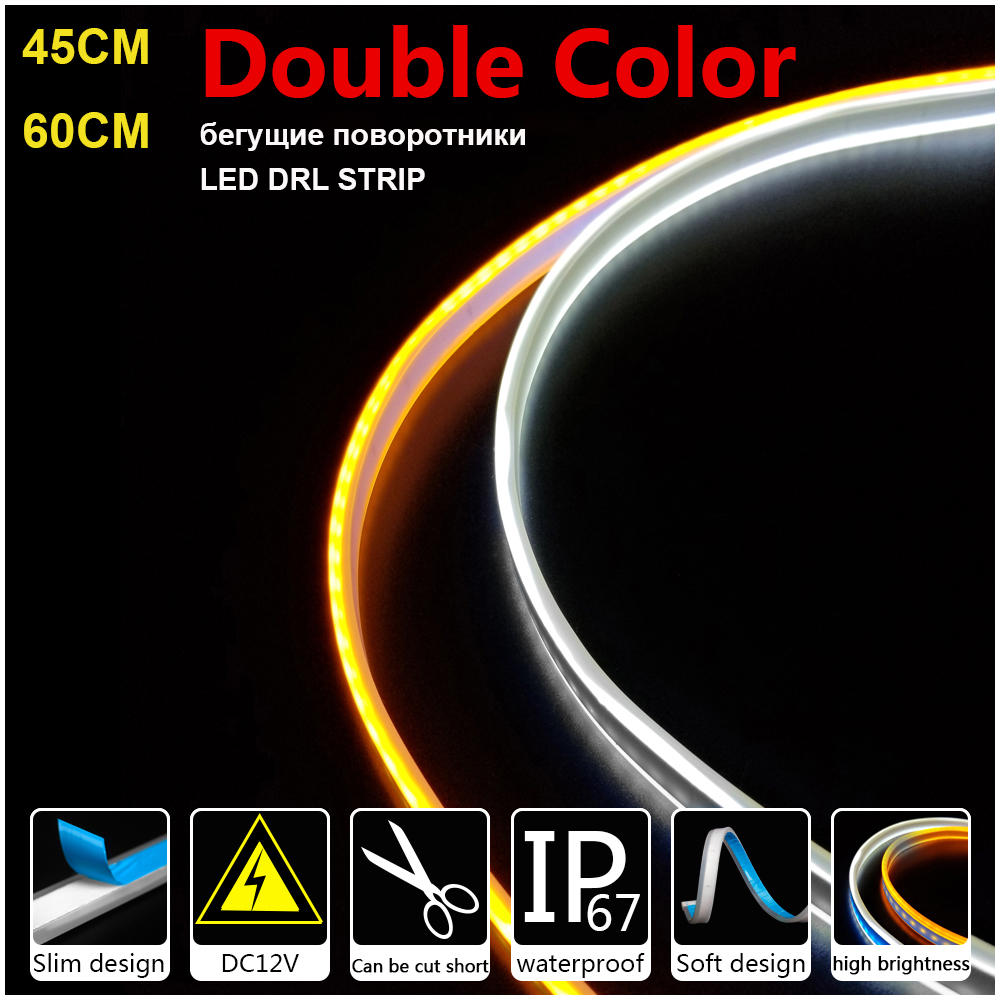 45cm 60cm 12V LED Strip Light Slim Flexible DRL Strip Turn Signal Lamp Amber Angel Tear Flowing LED Car Daytime Running Lights