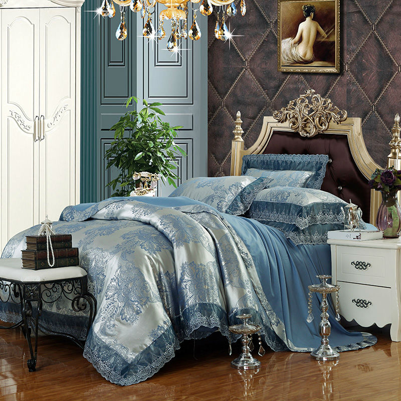 luxury blue silver duvet cover set lace border linens silk cotton jacquard queenking size 46pcs bedding sets
