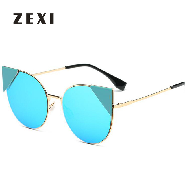 9ea1f232fb7101 ZEXI 2017 Nieuwe Stijl Zonnebril Vrouwen Blauw Kleur Cat Eye zonnebril Full  Frame Bril D Merk