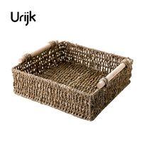 Urijk Straw Wood Tabletop Storage Box Woven Storage Basket Bathroom Cosmetics Storage Basket Snack Small Basket