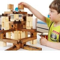 مثالية تدهش الرخام 45 60 قطعة خشبية اللبنات خشب البناء التعلم والتعليم الكلاسيكية مجموعة هدية لعب للأطفال