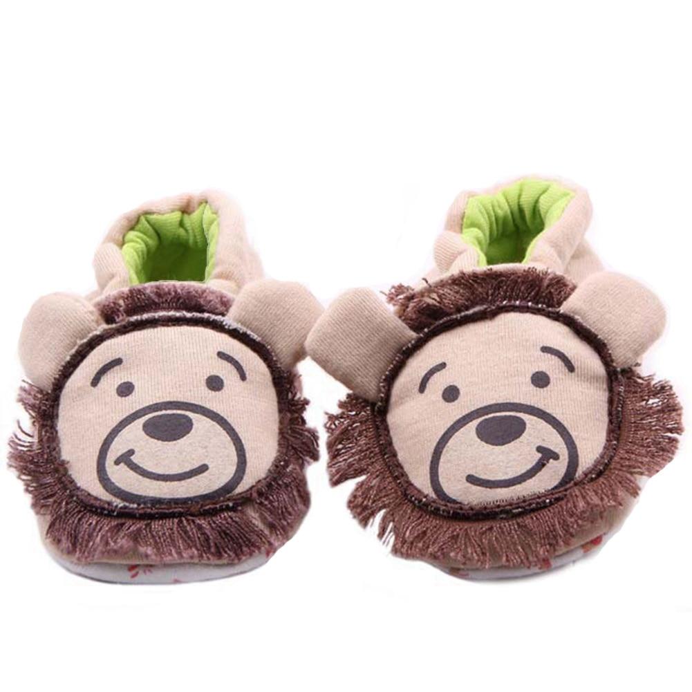 Kūdikių berniukų lovelės batai Cute Child Cartoon Lion Minkštas vienintelis slydimas ant naujagimio batų kūdikių įrankių Toddler Girls Home Wear for Kids Footwear