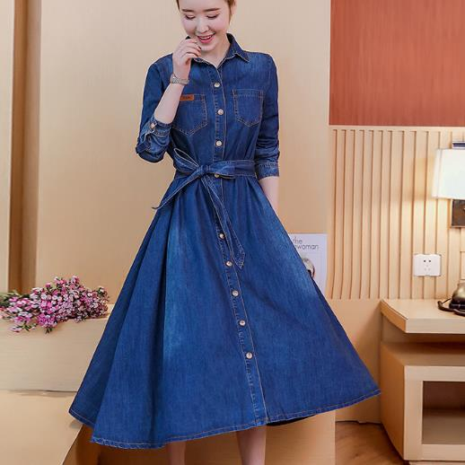 women Fashion jeans Dress long sleeve Slim Denim turn down collar Dress Ladies Knee-length Long a-line Dress plus size 2XL