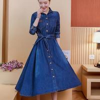 women Fashion jeans Dress long sleeve Slim Denim turn down collar Dress Ladies Knee length Long a line Dress plus size 2XL